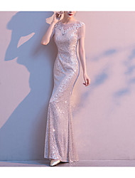 cheap -Sheath / Column Jewel Neck Floor Length Sequined Bridesmaid Dress with Lace / Sequin