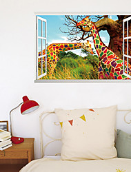cheap -3D Fake Window Rainbow Giraffe Animal Home Background Decoration Can Be Removed Stickers 60*90cm