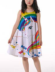 cheap -Kids Little Girls' Dress Horse Rainbow Graphic Ruched Print Rainbow Knee-length Sleeveless 3D Print Cute Dresses Loose 4-13 Years