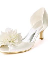 cheap -Women's Wedding Shoes Kitten Heel Peep Toe Wedding Sandals Satin Satin Flower Solid Colored White Ivory