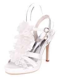 cheap -Women's Wedding Shoes Stiletto Heel Open Toe Wedding Sandals Satin Satin Flower Solid Colored White Red Champagne