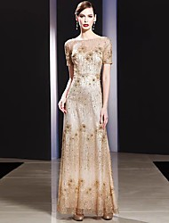cheap -A-Line Jewel Neck Floor Length Lace Bridesmaid Dress with Appliques