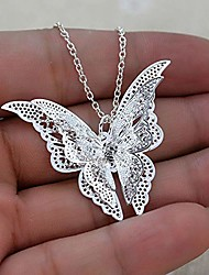 cheap -jesming silver lovely butterfly pendant necklace jewelry for women girls kids, pendant chain necklace 20+2 inch women jewelry