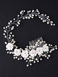 cheap -Women's Hair Combs For Birthday Party Festival Alloy White 1pc