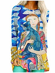 cheap -women fashion tops causal landscape print o-neck blouse long sleeves loose pullover ladies painting printed tunic top