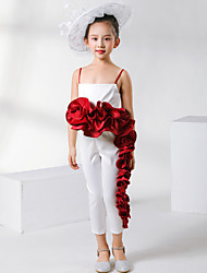 cheap -Pantsuit / Jumpsuit Ankle Length Event / Party / Birthday Flower Girl Dresses - Satin Sleeveless Spaghetti Strap with Appliques / Solid