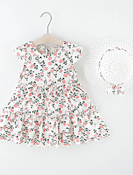 cheap -Kids Little Girls' Dress Floral Print White Knee-length Sleeveless Regular Dresses Summer Loose 2-6 Years