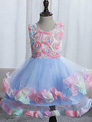 cheap -Ball Gown Asymmetrical / Knee Length Wedding / Event / Party Flower Girl Dresses - Tulle / Polyester Sleeveless Jewel Neck with Tier / Ruching / Trim