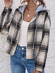 cheap -Women's Jacket Daily Fall & Winter Short Coat Shirt Collar Regular Fit Sporty Jacket Long Sleeve Print Blue Beige