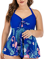 cheap -Women's Tankini 2 Piece Swimsuit Open Back Slim Color Block Geometric Flamingo Black Royal Blue Plus Size Swimwear Padded Strap Bathing Suits New Fashion Sexy