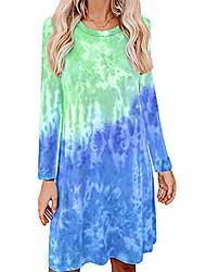 cheap -Women's Loose Knee Length Dress Peach + Long Sleeve Light purple + long sleeves Rose Red + Long Sleeve Violet + long sleeve Grass green + long sleeves Yellow + long sleeve Long Sleeve Pattern All