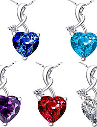 cheap -Women's Pendant Necklace Charm Necklace Classic Heart Precious Fashion Zircon Copper Silver Plated White Purple Red Dark Blue Light Blue 45 cm Necklace Jewelry 1pc For Christmas Wedding Party Evening