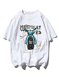 cheap -Men's Unisex T shirt Hot Stamping Alien Plus Size Print Short Sleeve Casual Tops 100% Cotton Basic Casual Fashion White
