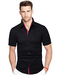 cheap -men's short sleeve casual button down party dress shirt-black