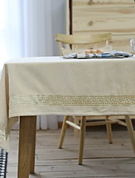 cheap -Table Cloth polyester fibre Dust-Proof Embroidery Solid Colored Tabel cover Table decorations for Daily Wear rectangule 90*90 cm Beige fine lace flannel 1 pcs