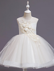 cheap -Ball Gown Knee Length Wedding / Event / Party Flower Girl Dresses - Tulle / Polyester Sleeveless Jewel Neck with Faux Pearl / Tier / Ruching