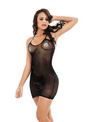 cheap -Women's Print Babydoll & Slips Nightwear Floral Black One-Size / Strap
