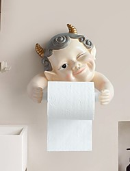 cheap -Punch-free Cute Elf Wall-mounted Paper Towel Holder Resin Kitchen Roll Paper Box Wash Towel Rack Cartoon Toilet Paper Toilet Paper Holder