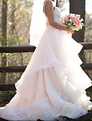 cheap -A-Line Wedding Dresses Sweetheart Neckline Sweep / Brush Train Organza Sleeveless Country Romantic Luxurious with Cascading Ruffles 2021