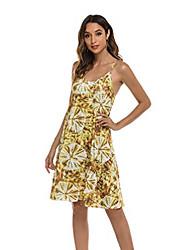 cheap -casuress women summer spaghetti strap dress adjustable sexy boho floral printed v neck sleeveless casual mini sundress (x-large, yellow)