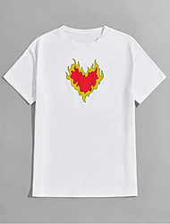 cheap -Men's T shirt Hot Stamping Heart Graphic Prints Print Short Sleeve Daily Tops 100% Cotton Basic Fashion Classic White