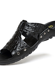 cheap -Men's Sandals Casual Beach Daily Outdoor Walking Shoes PU Breathable Non-slipping White Black Blue Summer