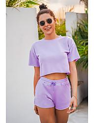cheap -Women's Streetwear Cinched Plain Vacation Casual / Daily Two Piece Set Crop Top Tracksuit T shirt Loungewear Shorts Drawstring Tops
