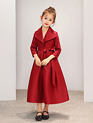 cheap -A-Line Ankle Length Party / Event / Party Flower Girl Dresses - Satin 3/4 Length Sleeve V Neck with Belt / Bow(s) / Solid
