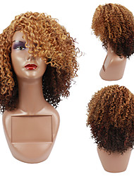 cheap -Afro Kinky Curly Wig Side Part Full Machine Made Scalp Top Wig 200 Density Short Curly Hair Wigs Free Cap