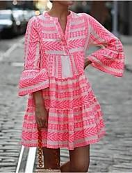 cheap -Women's Swing Dress Short Mini Dress Black Blue Blushing Pink Green 3/4 Length Sleeve Geometric Print Spring Summer V Neck Boho Flare Cuff Sleeve 2021 S M L XL XXL 3XL