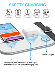 cheap -Q18 3 in 1 Wireless Charging 10W Flat Charging for iPhone 12 11 XS Max XR 8 Plus Watch 6 5 4 3 Air pods Pro Portable Mobile Phone Headset Wireless Fast Charging Charger
