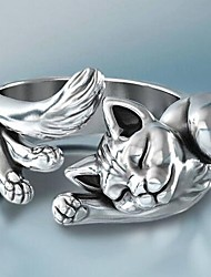 cheap -Open Cuff Ring Silver Alloy Cat Cute 1pc Adjustable / Women's