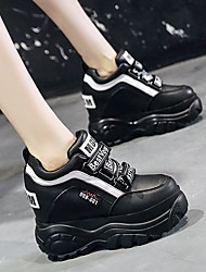 cheap -Women's Sneakers Height Increasing Shoes Hidden Heel Round Toe Booties Ankle Boots Mesh Lace-up Solid Colored White Black Purple