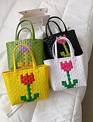 cheap -Women's Bags Top Handle Bag Straw Bag Daily 2021 White Black Yellow Green