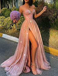 cheap -A-Line Glittering Sexy Engagement Prom Dress Sweetheart Neckline Sleeveless Sweep / Brush Train Tulle with Pleats Sequin Split 2021