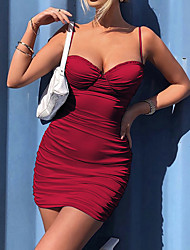 cheap -Women's Sheath Dress Short Mini Dress Wine Light Blue Sleeveless Solid Color Ruched Summer Strapless Sexy 2021 XS S M L