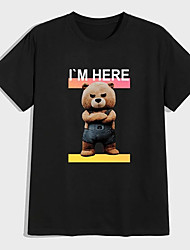 cheap -Men's Unisex Tees T shirt Hot Stamping Graphic Prints Toy Bear Plus Size Print Short Sleeve Casual Tops 100% Cotton Basic Designer Big and Tall Black