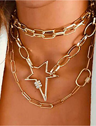 cheap -Women's Layered Necklace Double Layered Vintage European Alloy Gold 30+7 cm Necklace Jewelry 1pc For Festival