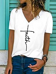 cheap -Women's T shirt Letter Print V Neck Tops Basic Basic Top White