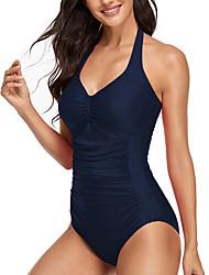 cheap -Women's One Piece Bikini Swimsuit Racerback Open Back Print Solid Color Stripe Blue Yellow Black Red Swimwear Padded Strap Bathing Suits New Classic Sweet / Romper / Tattoo / Padded Bras / Slim