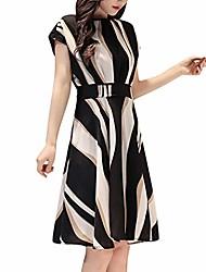 cheap -Women's A Line Dress Photo Color Short Sleeve Color Block Spring Summer Elegant Casual / Daily M L XL 2XL 3XL