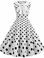 cheap -totod vintage dot print dress for women elegant 50s bow lapel swing casual evening party prom dress white