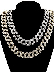 cheap -Men's Necklace Cuban Link Friends Trendy Alloy Gold Silver 50 cm Necklace Jewelry 1pc For Birthday Party