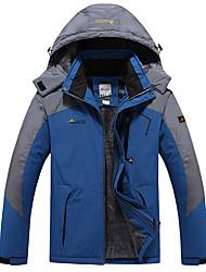 cheap -Men's Jacket Sport Fall Winter Regular Coat Stand Collar Regular Fit Rain Waterproof Sporty Sports Jacket Long Sleeve Color Block Full Zip Blue Green Royal Blue