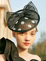 cheap -Elegant Retro 100% Linen Fascinators with Bowknot / Polka Dot 1 Piece Special Occasion / Party / Evening Headpiece