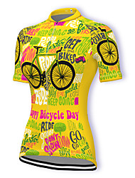 cheap -21Grams Women's Short Sleeve Cycling Jersey Summer Spandex Dark Pink Yellow Light Green Bike Top Mountain Bike MTB Road Bike Cycling Breathable Sports Clothing Apparel / Stretchy / Athleisure