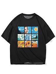 cheap -Men's Unisex T shirt Hot Stamping Rainbow Plus Size Print Short Sleeve Casual Tops 100% Cotton Basic Casual Fashion Black