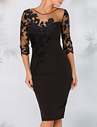 cheap -Sheath / Column Elegant Wedding Guest Cocktail Party Dress Illusion Neck 3/4 Length Sleeve Knee Length Polyester with Sequin Appliques 2021