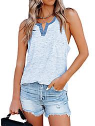 cheap -Women's Tank Top Vest T shirt Plain Pocket Round Neck Basic Tops Slim Blue Purple Wine