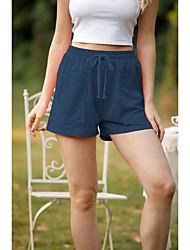 cheap -Women's Simple Cute Comfort Daily Work Shorts Pants Plain Short Elastic Waist Purple Army Green Dark Gray Dark Blue